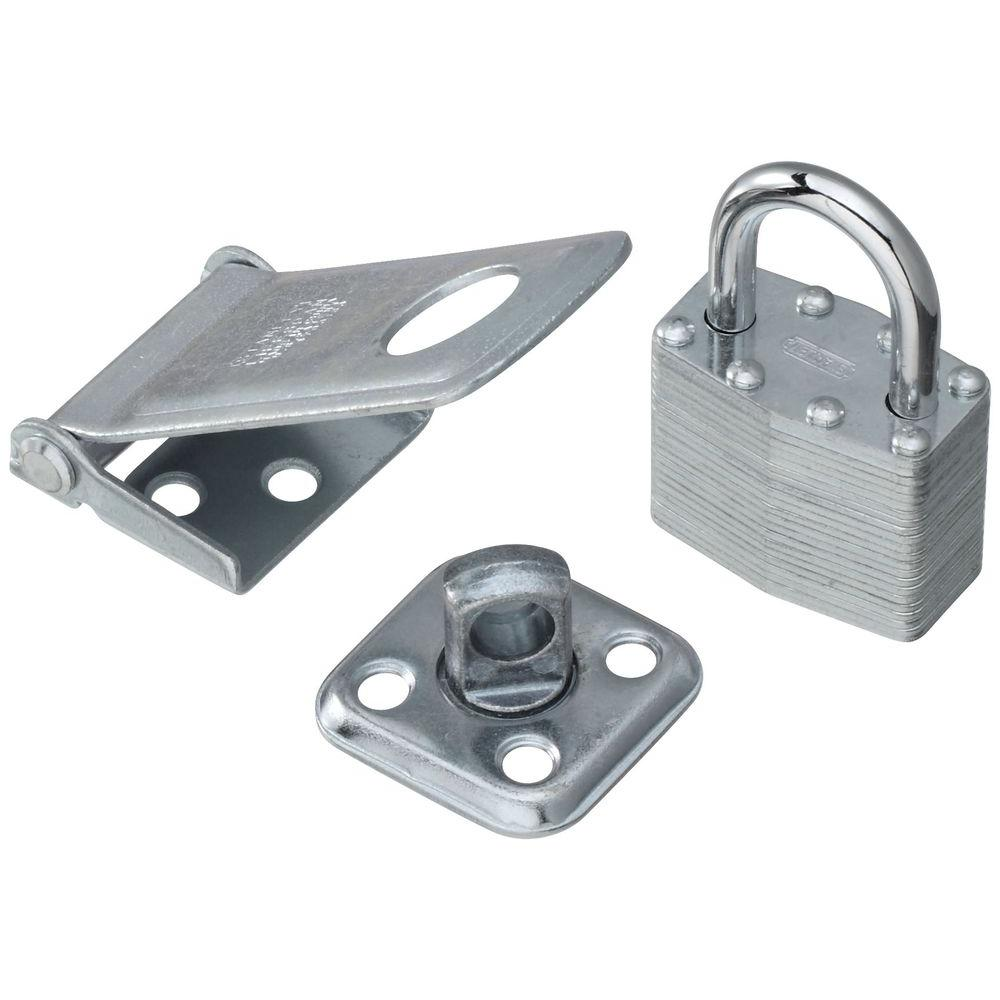Stanley-National Hardware 1-1/2 in. x 3-1/2 in. Zinc Plate Combination Padlock and Hasp