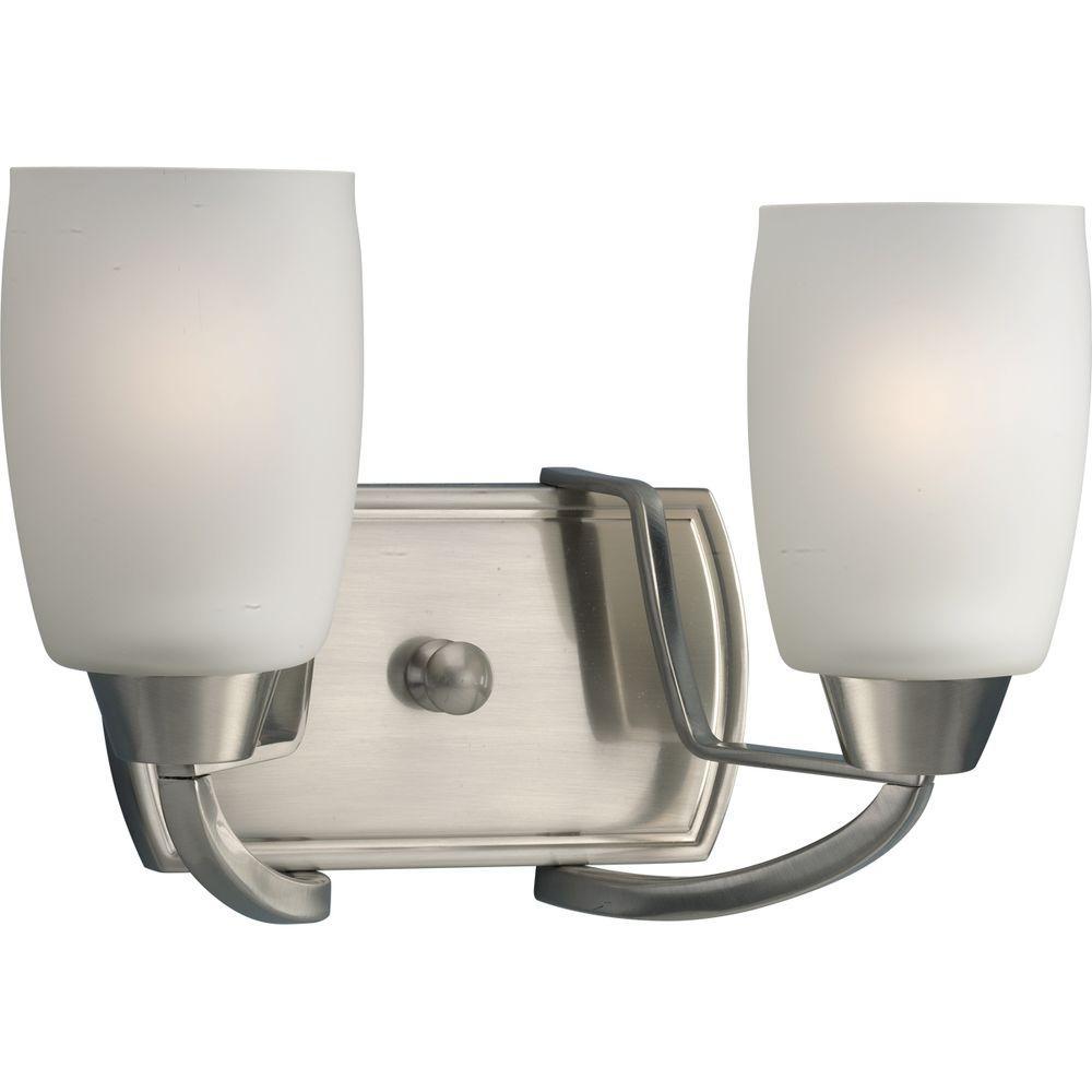 Progress Lighting Wisten Collection 2-Light Brushed Nickel Vanity Fixture