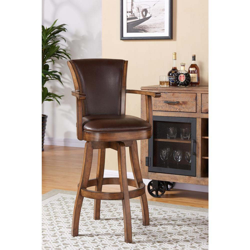Armen Living Raleigh 30 In. Kahlua Faux Leather And Chestnut Wood Finish  Armed Swivel Barstool