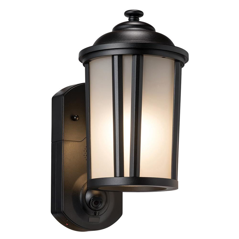 Traditional Smart Security Textured Black Metal And Gl Outdoor Wall Lantern