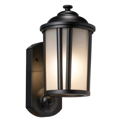 Traditional Smart Security Textured Black Metal and Glass Outdoor Wall Lantern Sconce