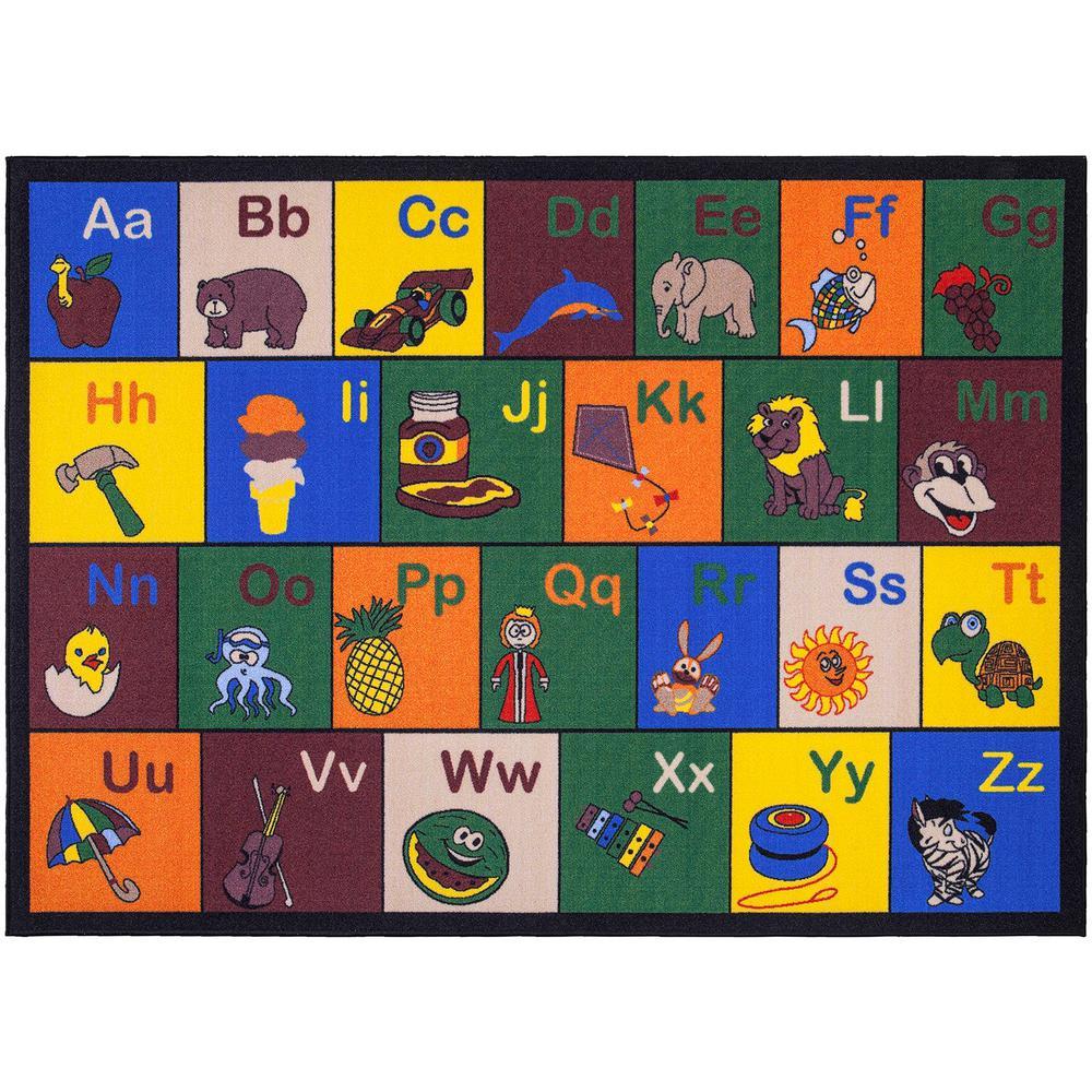 Ottomanson Jenny Collection Multi Alphabet Design 8 ft. 2 in. x 9 ft. 10 in. Non-Slip Kids Area Rug