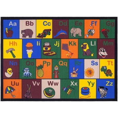 Jenny Collection Multi Alphabet Design 8 ft. 2 in. x 9 ft. 10 in. Non-Slip Kids Area Rug