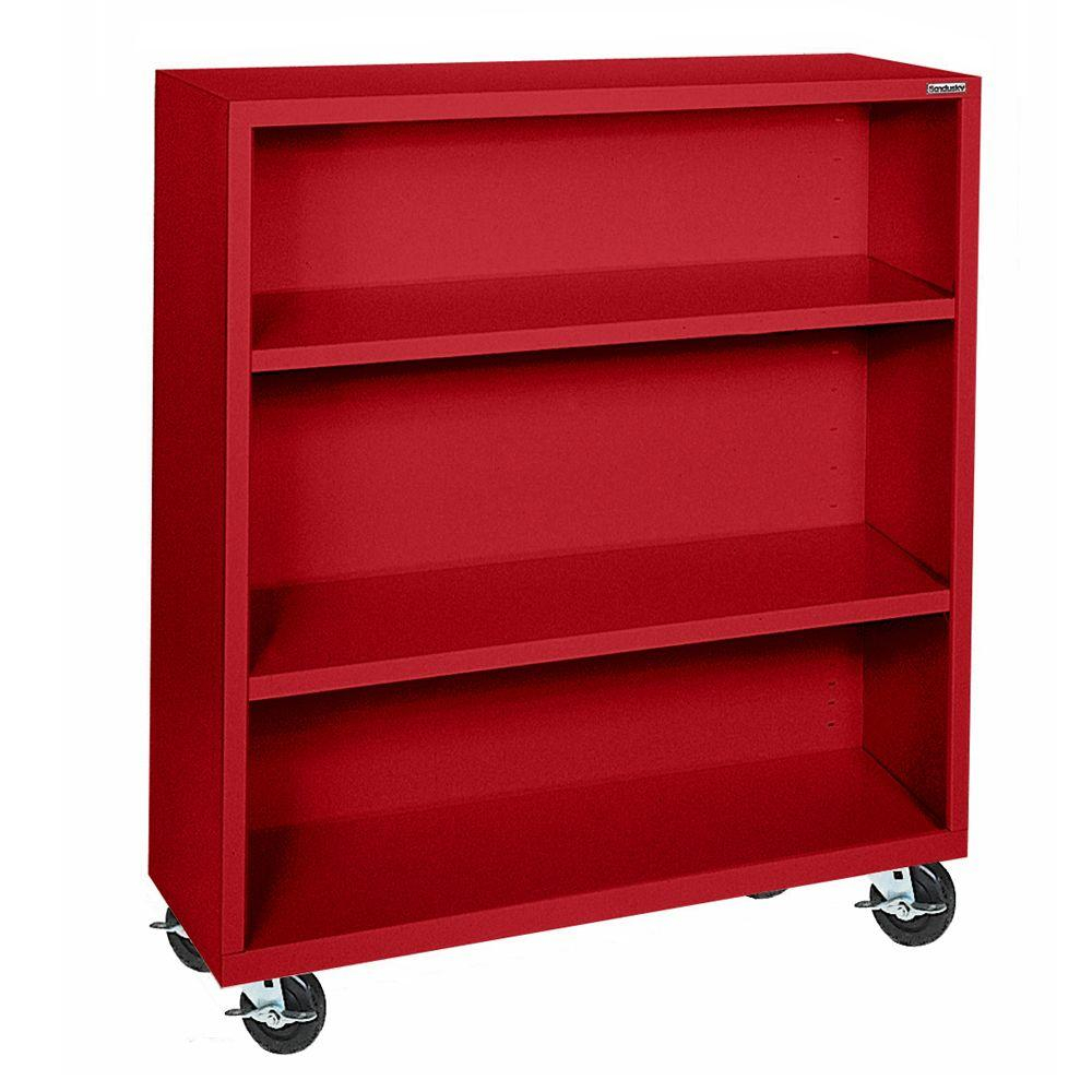 Sandusky 48 in. Red Metal 3-shelf Cart Bookcase with Adjustable Shelves