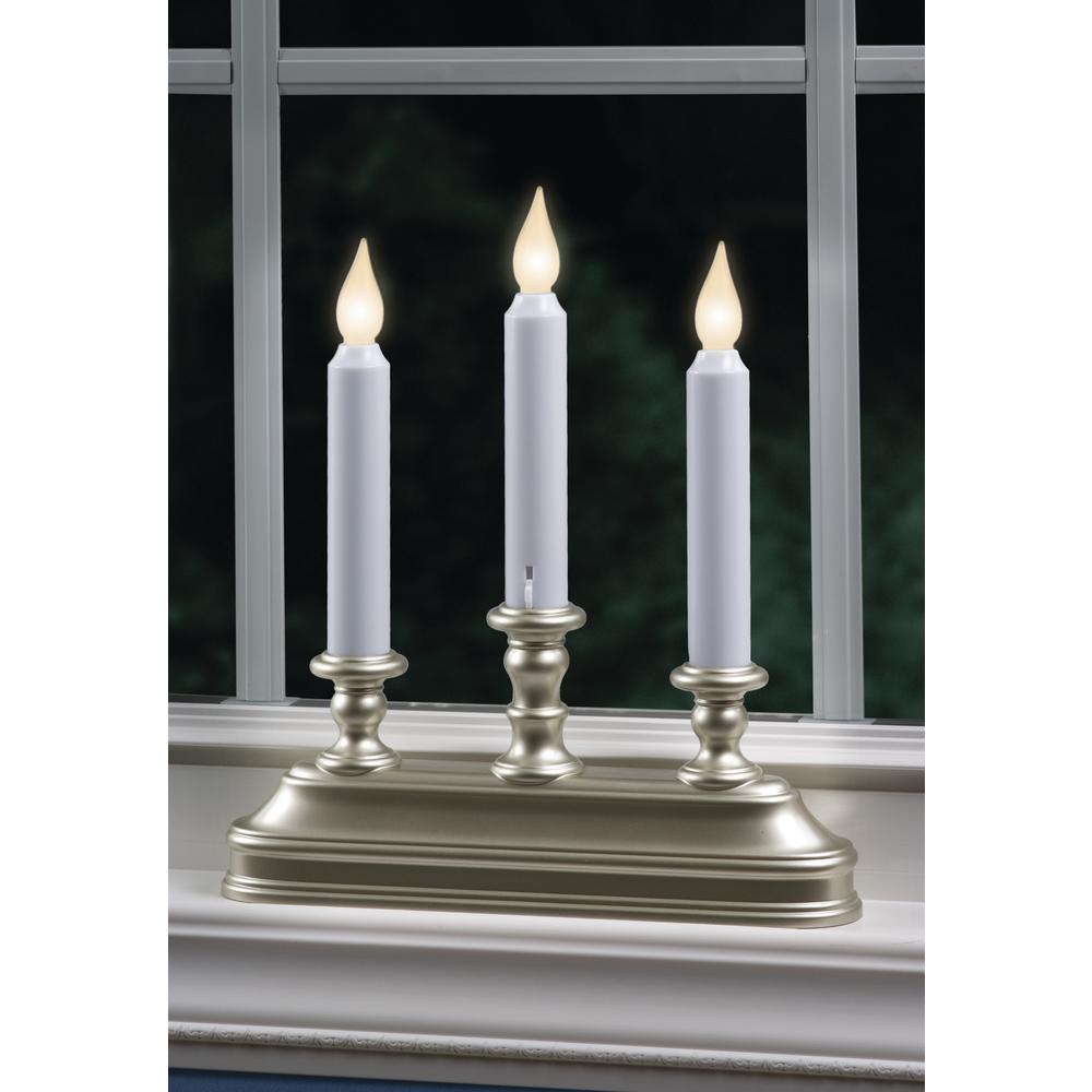 warm white led battery operated candle with pewter candelabra - Battery Operated Christmas Candles