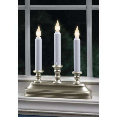 10.25 in. Warm White LED Battery Operated Candle with Pewter  Candelabra