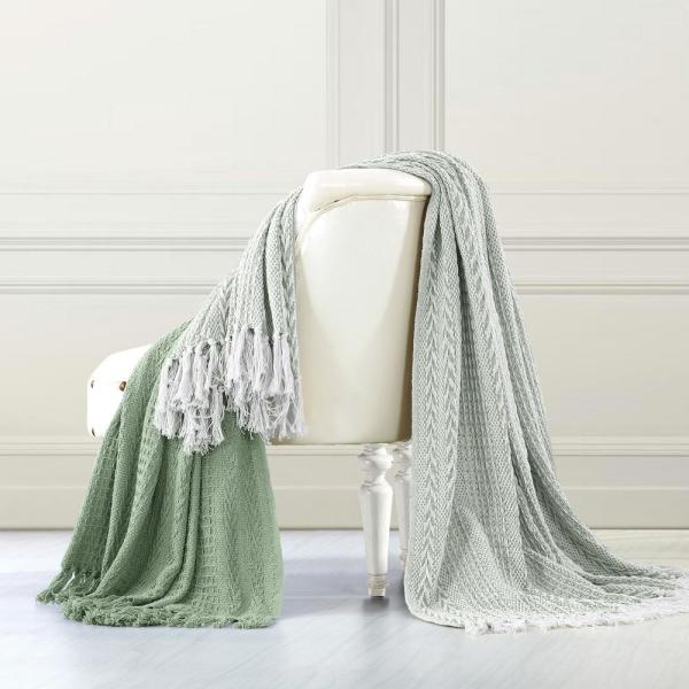 Amrapur Overseas 2-Pack Batik Silver Sage 100% Cotton Throw 5CNTBTKG-SSG-ST