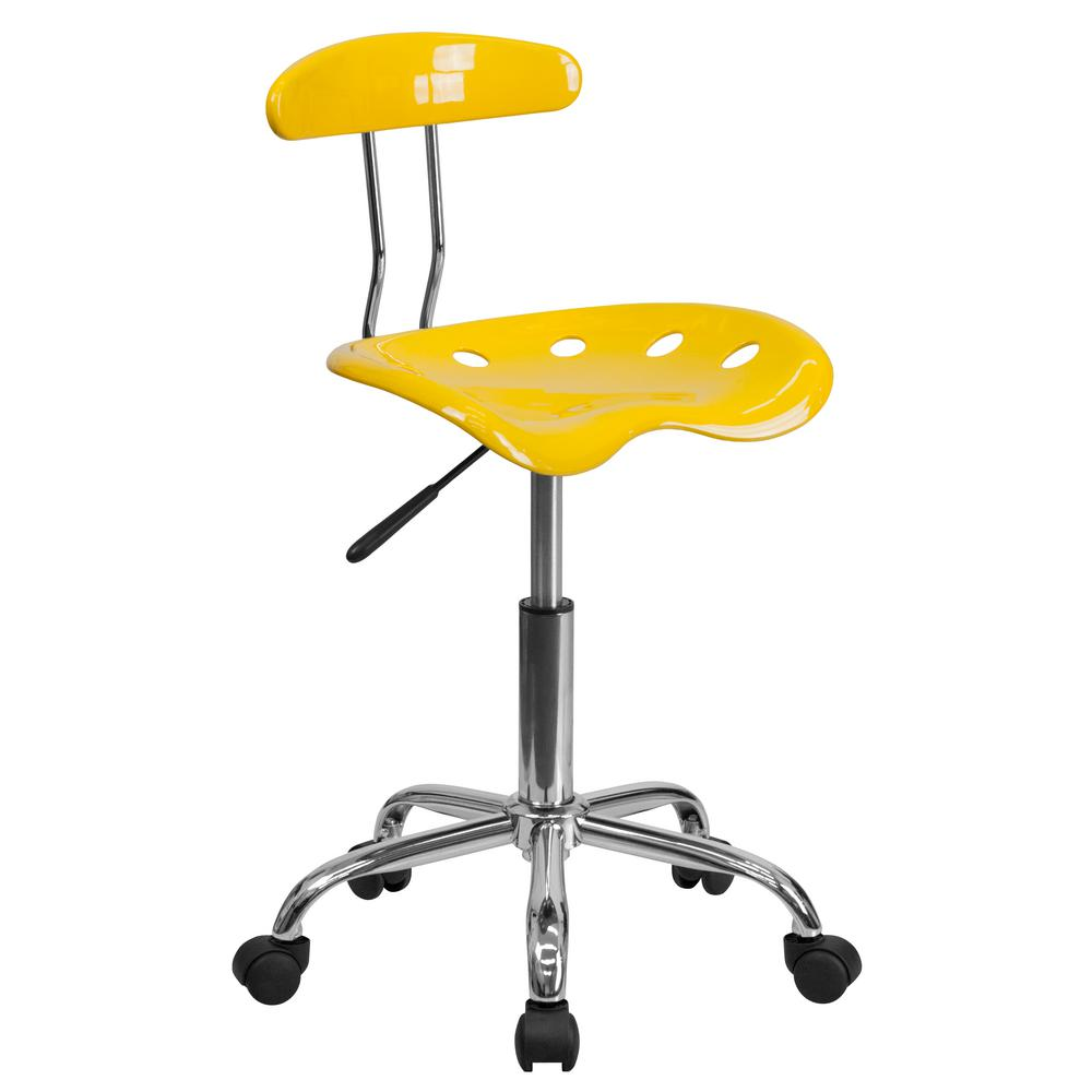 Flash Furniture Vibrant Orange Yellow And Chrome Task Chair With Tractor Seat