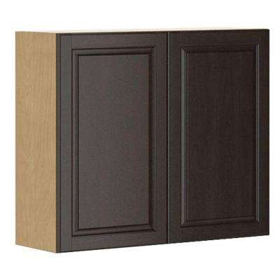 Ready to Assemble 36x30x12.5 in. Naples Wall Cabinet in Maple Melamine and Door in Dark Brown