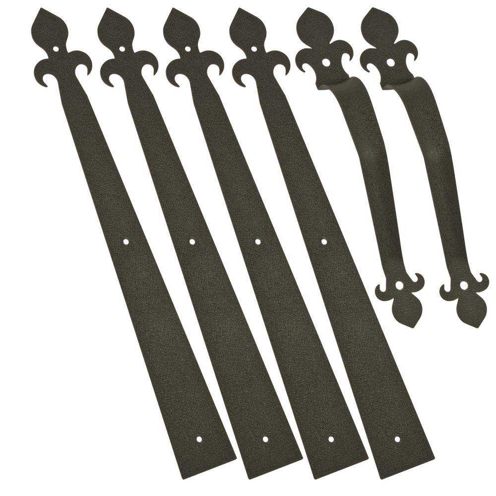 Fleur-De-Lis Decorative Black Garage Hardware Kit