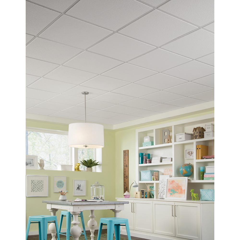 Armstrong Ceilings Brighton 2 Ft X 2 Ft Drop Ceiling Tile 64 Sq Ft Case 266b The Home Depot