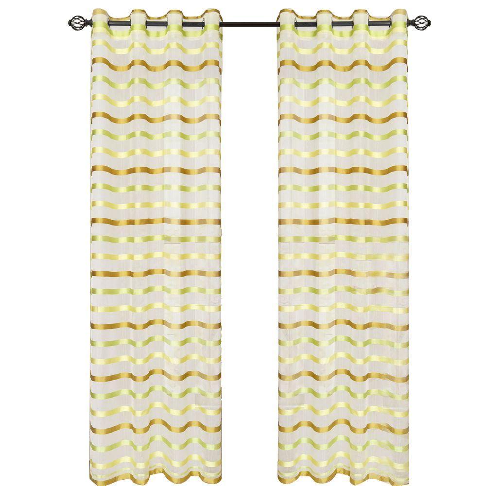 Green Sonya Grommet Curtain Panel, 95 in. Length