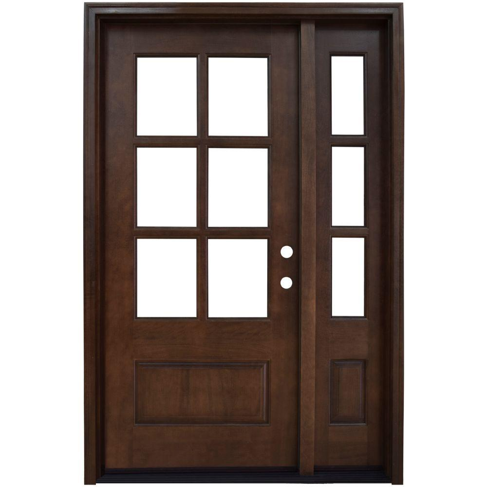 Steves sons 64 in x 80 in savannah left hand 6 lite clear savannah left hand 6 lite clear stained mahogany wood prehung front door with sidelites m6410 123012 ct 4ilh the home depot planetlyrics Choice Image
