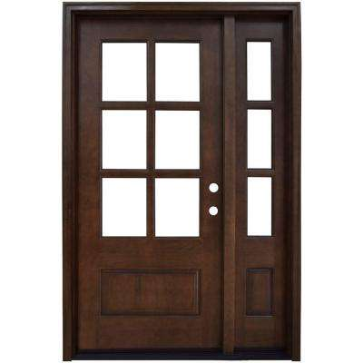 52 in. x 80 in. Savannah Clear 6 Lite LHIS Mahogany Stained Wood Prehung Front Door with Single 12 in. Sidelite