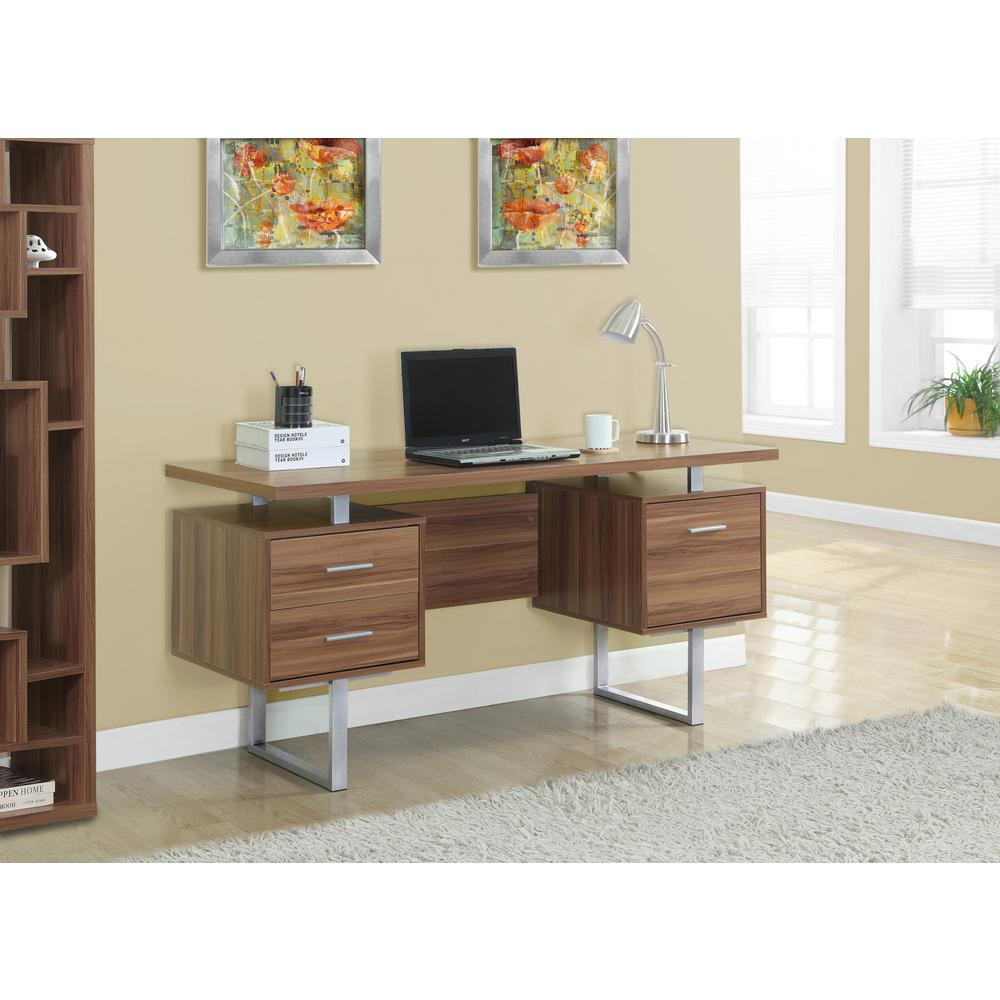 Monarch Specialties Walnut Desk with DrawersI 7083 The Home Depot