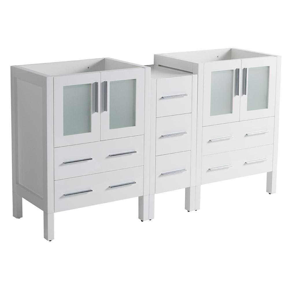 Torino Modern Double Bathroom Vanity Cabinet in White