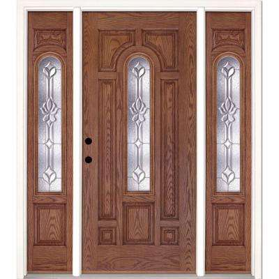 63.5 in.x81.625 in. Medina Zinc Center Arch Lt Stained Medium Oak Right-Hand Fiberglass Prehung Front Door w/ Sidelites
