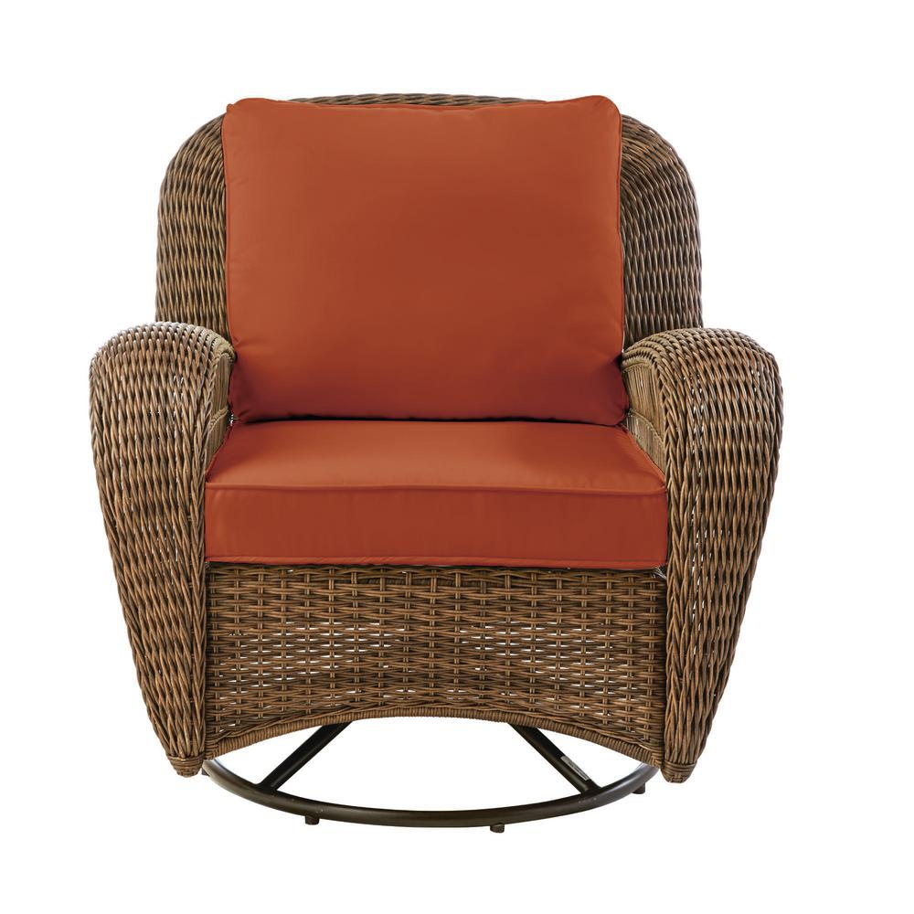 Hampton Bay Beacon Park Brown Wicker Outdoor Patio Swivel Lounge Chair with CushionGuard Quarry Red Cushions was $349.0 now $272.22 (22.0% off)