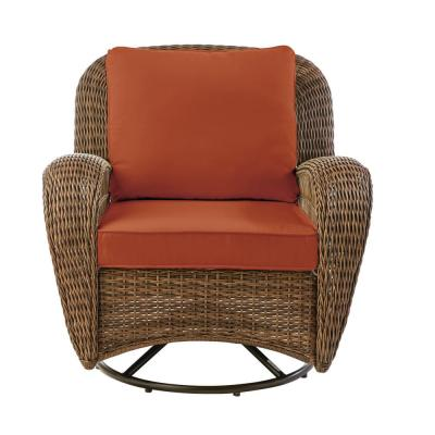 Beacon Park Brown Wicker Outdoor Patio Swivel Lounge Chair with CushionGuard Quarry Red Cushions