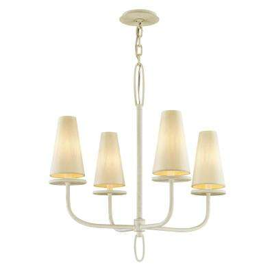 Marcel 4-Light Gesso White 26 in. D Chandelier with Off-White Hardback Cotton Shade