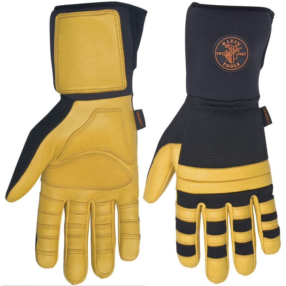 KleinTools Klein Tools XX-Large Lineman Work Gloves, Adult Unisex, Black and Yellow