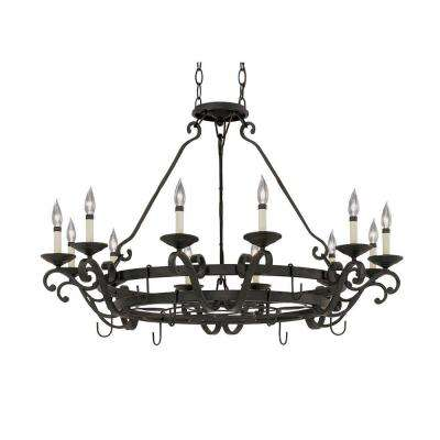Barcelona 12-Light Natural Iron Interior Incandescent Chandelier