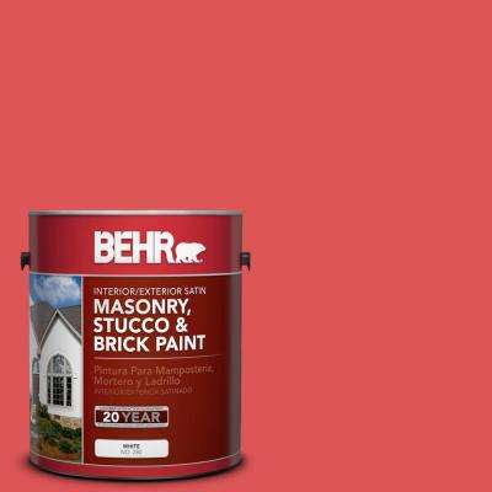 1 gal. #150B-6 Firecracker Satin Interior/Exterior Masonry, Stucco and Brick Paint