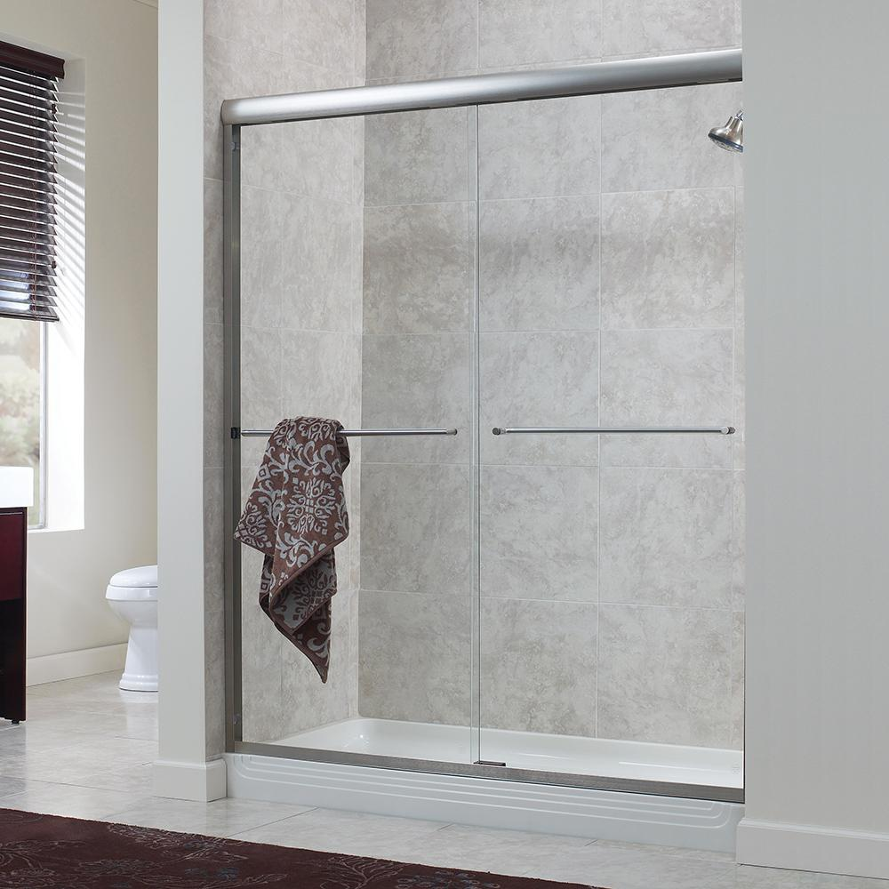 Foremost Cove 38 In To 42 In X 65 In Semi Framed Sliding Bypass Shower Door In Silver With 1 4 In Clear Glass Cvss4265 Cl Sv The Home Depot