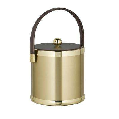 Americano 3 Qt. Brushed Brass Ice Bucket with Brown Leatherette Lid and Handle
