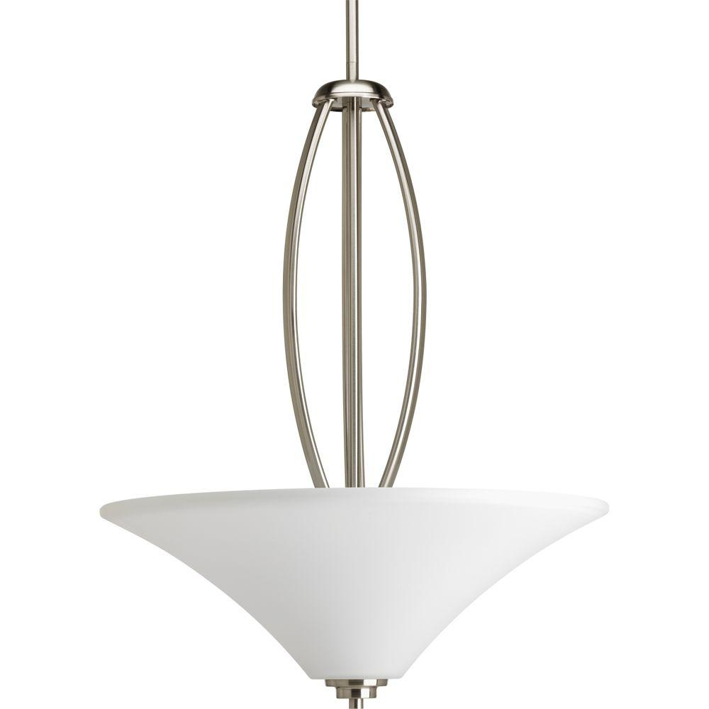 Joy Collection 3-Light Brushed Nickel Foyer Pendant with Etched Glass
