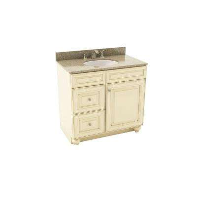 Savannah 37 in. Vanity in Hazelnut with Left Drawers and Silestone Quartz Vanity Top in Quasar and Oval White Sink