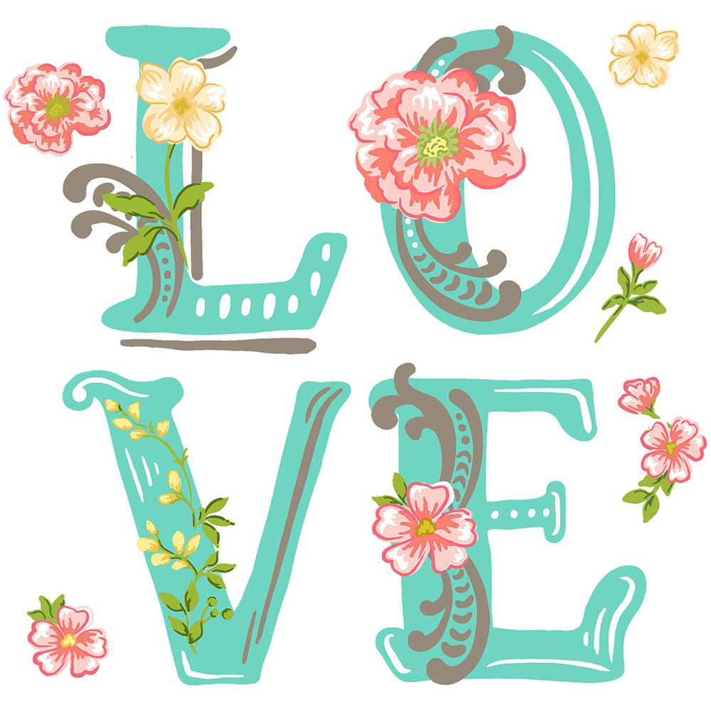 19.5 in. x 17.25 in. Love Wall Decal