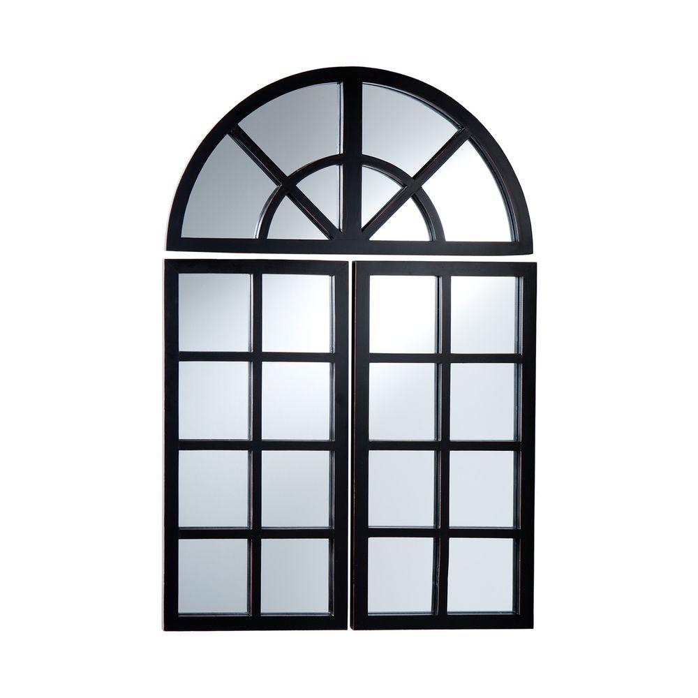 Home Decorators Collection 15 in. x 30 in. Windowpane Framed Mirror Panels (3-Pieces)