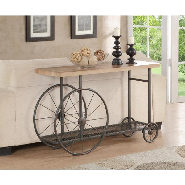 ACME Furniture Francie Oak and Antique Gray Mobile Console Table 82863
