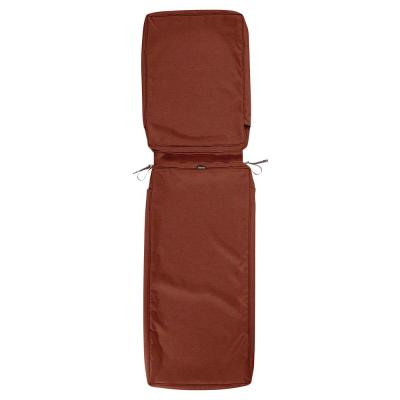 Montlake FadeSafe 72 in. L x 21 in. W x 3 in. H Patio Chaise Lounge Cushion Slip Cover in Heather Henna Red