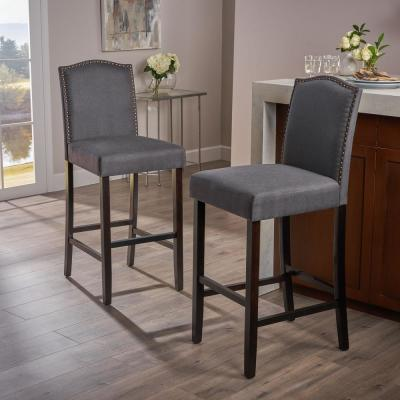 Darren 45 in. Charcoal Upholstered Bar Stool (Set of 2)
