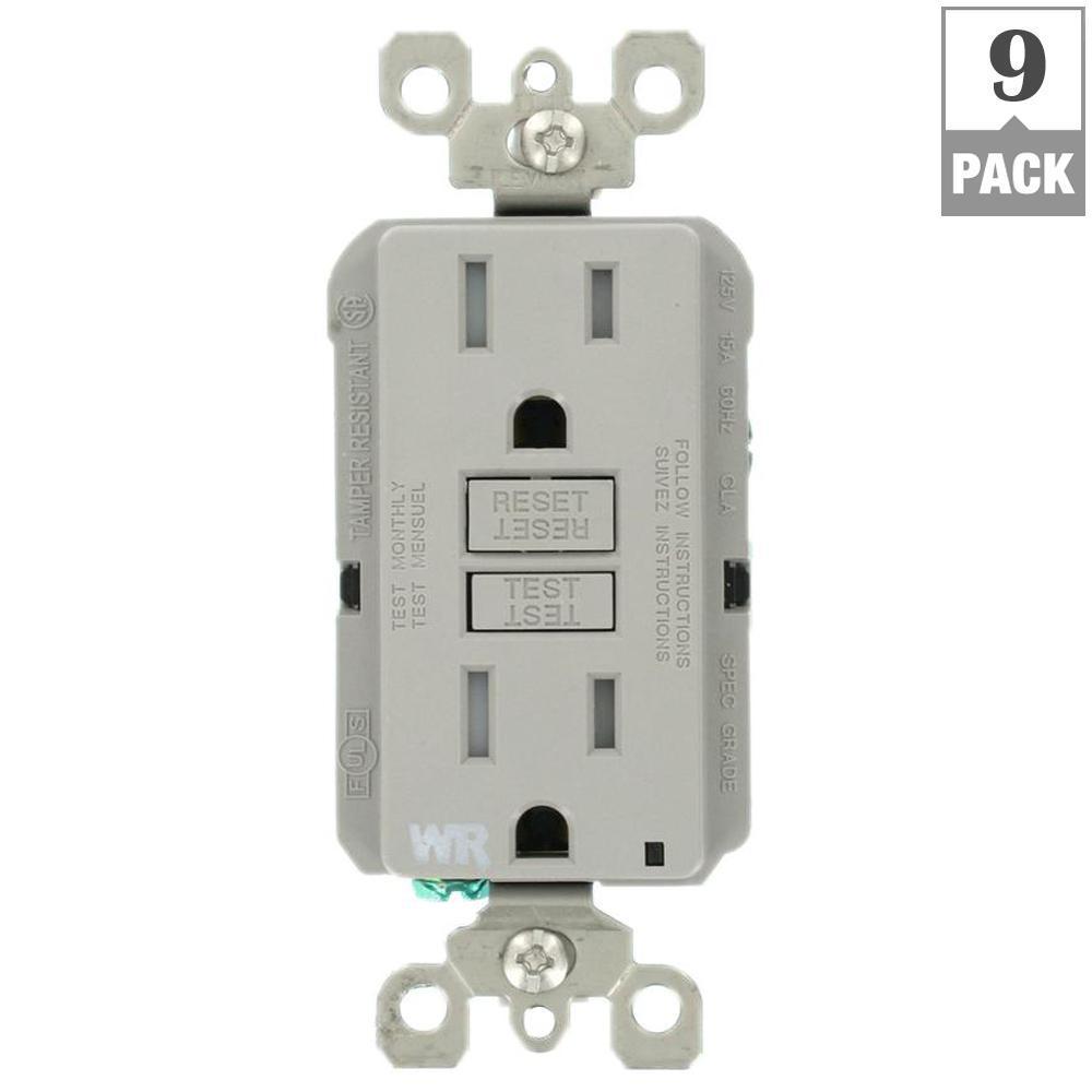 15 Amp 125-Volt Duplex Self-Test Tamper Resistant/Weather Resistant GFCI Outlet, Gray (9-Pack)