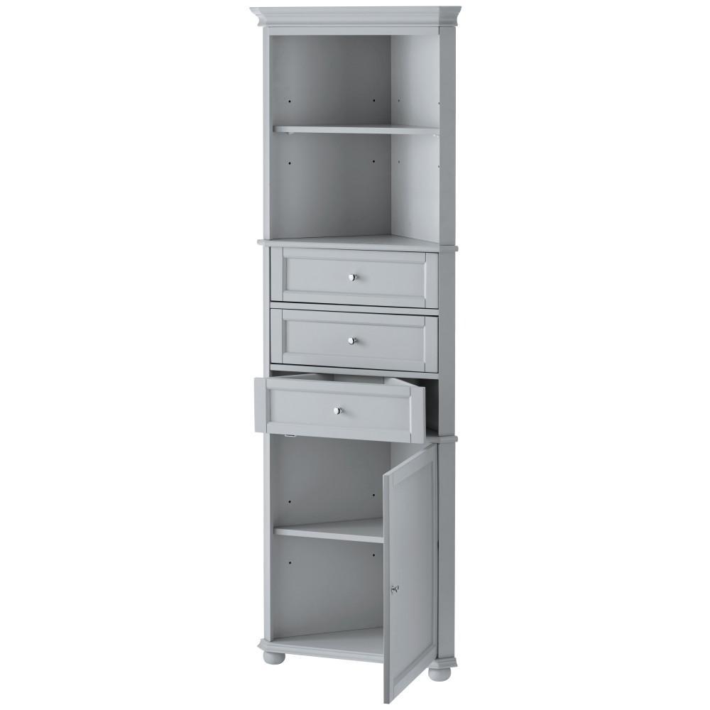 Corner Linen Cabinet 23 in H 2-Adjustable Shelves 3-Drawer White W x 67-1//2 in