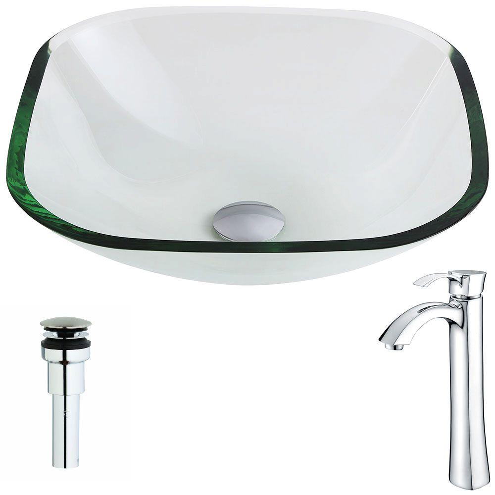 Captivating ANZZI Cadenza Series Deco Glass Vessel Sink In Lustrous Clear With Harmony  Faucet In Chrome