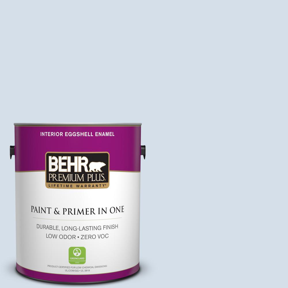 BEHR Premium Plus 1-gal. #580E-1 Rain Drop Zero VOC Eggshell Enamel Interior Paint