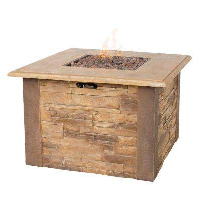 Faux 17 in. x 17 in. Stacked Stone Propane Gas Fire Pit