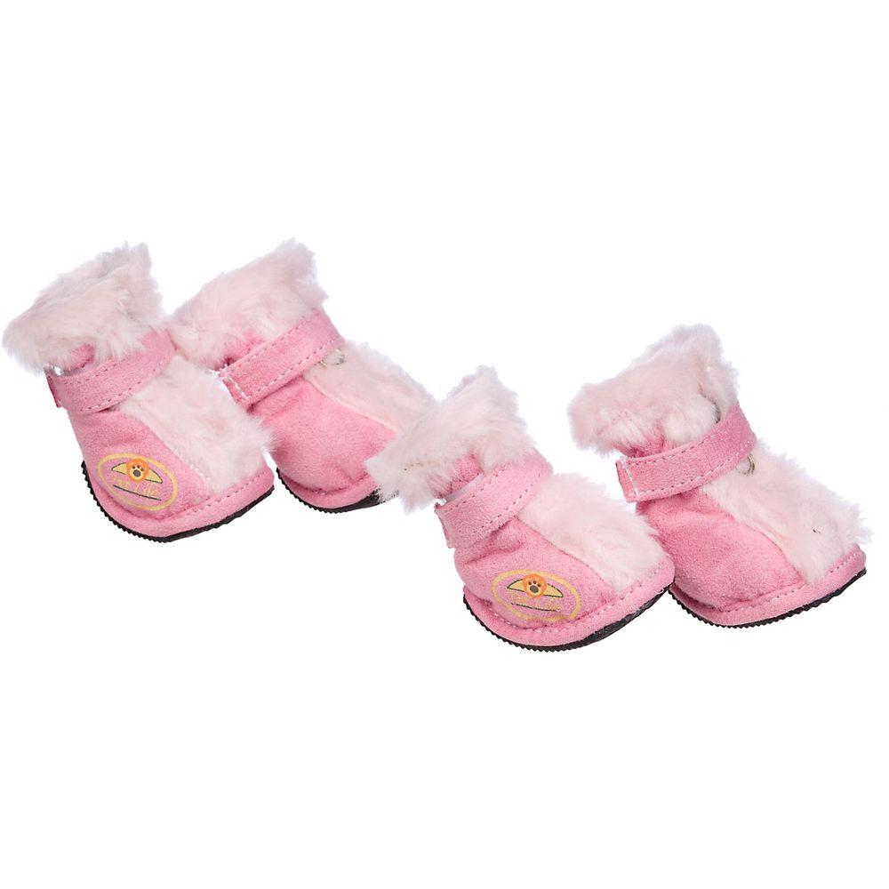 Petlife Fashion Premium Fur-Comfort Supportive Pet Suede Boots Shoes - Set of 4 Pink Small