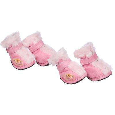 X-Small Pink Ultra Fur Protective Boots (Set of 4)