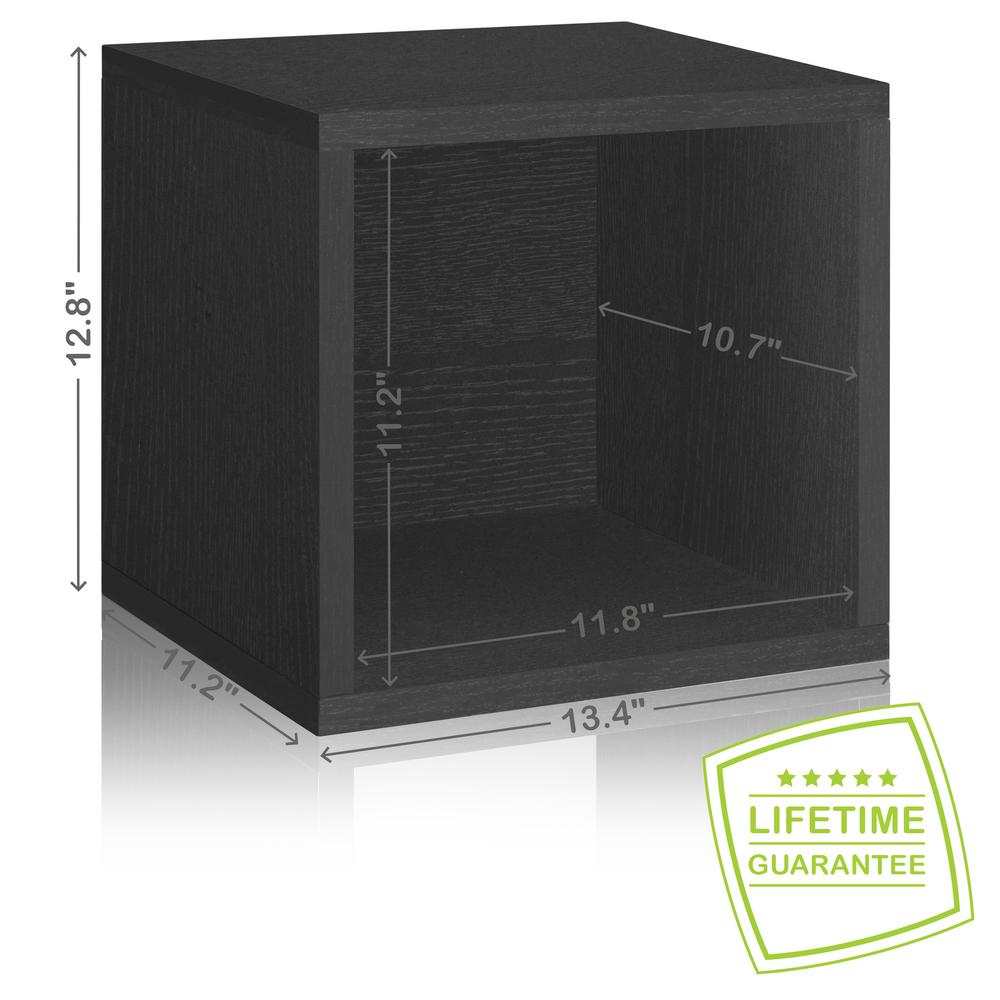 Way Basics Eco Stackable zBoard  11.2 x 13.4 x 12.8 Tool-Free Assembly Storage Cube Unit Organizer in Black Wood Grain