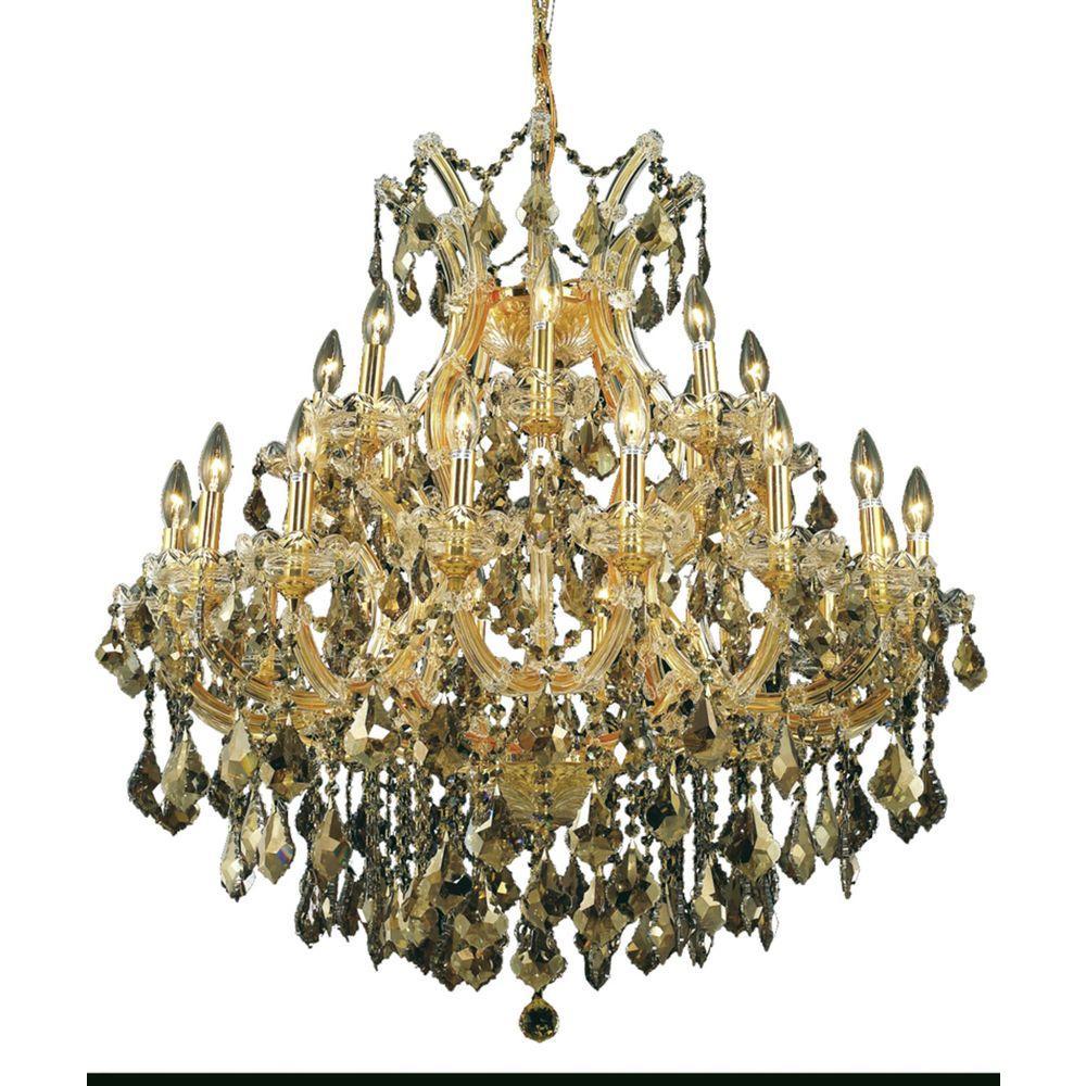 24-Light Gold Chandelier with Golden Teak Smoky Crystal