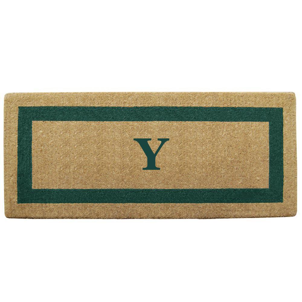 Single Picture Frame Green 24 in. x 57 in. Heavy Duty Coir Monogrammed Y Door Mat