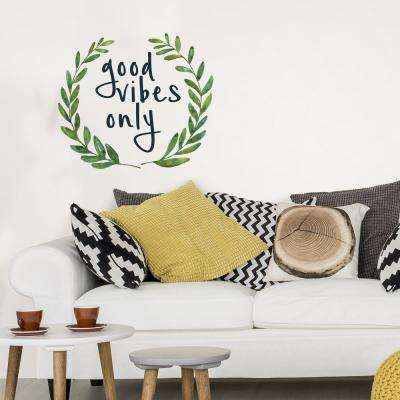 17.25 in. x 19.5 in. Green Good Vibes Only Wall Quote