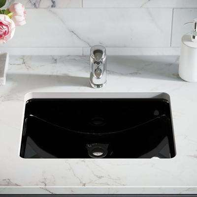 20-3/4 in. Undermount Bathroom Sink in Black with Gray SinkLink and Pop-Up Drain in Chrome