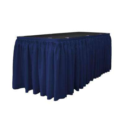 30 ft. x 29 in. Long Navy Blue Polyester Poplin Table Skirt with 15 L-Clips