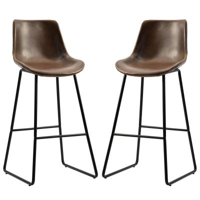 42.5 in. H Light Brown Vintage Leatherier Bar Stools with Back and Footrest Counter Height Dining Chairs (Set of 2)